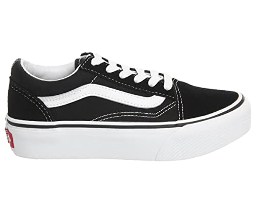 a8608de9fc6 Vans Old Skool Platform Girls Suede Lace Up Trainer Shoes Junior 1 32 Black  Suede