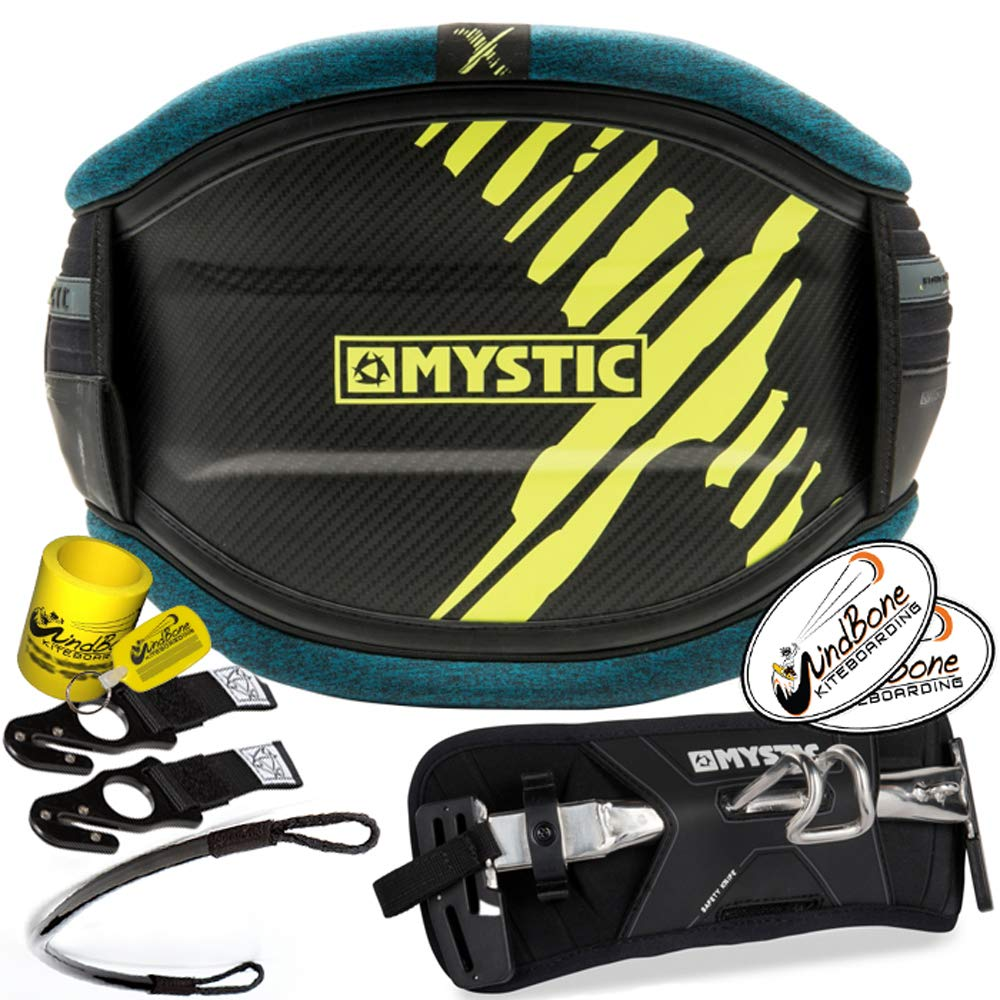 2018 Mystic Majestic X Carbon Hard Shell Kite Waist Harness Hook Bundle (6 Items) + Clicker Bar Hook + Spare Hook Knife + WindBone Kiteboarding Lifestyle ...