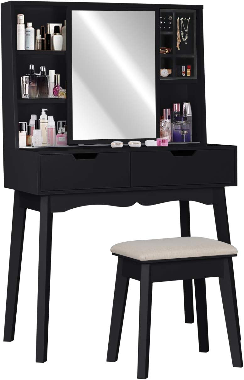Lynslim Vanity Table Set With Mirror And Makeup Organizer Dressing Table 2 Large Drawers With Sliding Rails Storage Shelves Jewelry Box Cushioned Stool Makeup Vanity Desk Furniture Decor