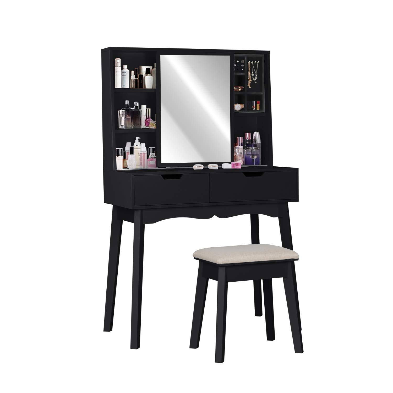 Vanity Table Set with Mirror and Makeup Organizer Dressing Table,2 Large Drawers with Sliding Rails,Storage Shelves,Jewelry Box,Cushioned Stool,Makeup Vanity Desk (Black)