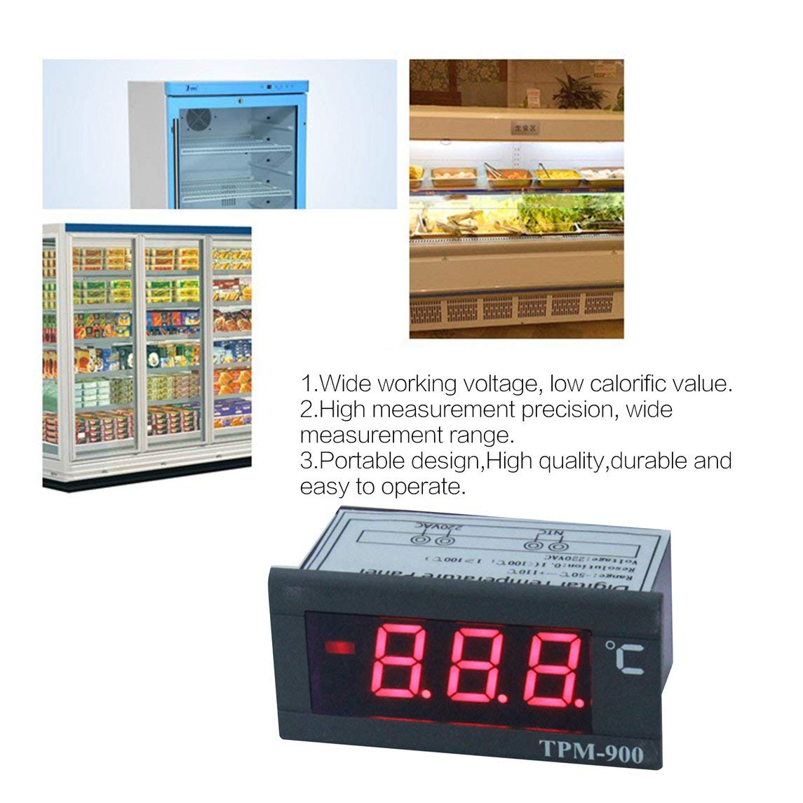 Jasnyfall TPM-80 Refrigerator Digital Electronic Thermometer Display Cabinet Refrigeration Temperature Tester Meter Scarlet Letter noir