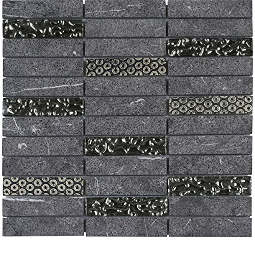 Decorative Insert Tile Flooring (Modket TDH128MO Raw Black Marquina Concrete Marble Stone Mosaic Tile, Deco Insert Blend stacked Pattern Backsplash)