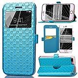 iPhone 8 Plus Case, iPhone 7 Plus Case, ArtMine Quilted Plain Color Window View Function PU Leather Flip Folio Wallet Phone Case for Apple iPhone 7 Plus, iPhone 8 Plus Blue