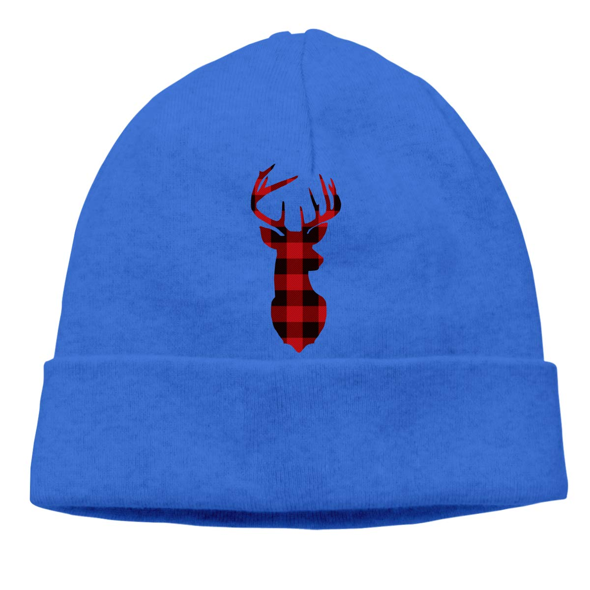 Beanie Hat Buffalo Plaid Deer Warm Skull Caps for Men and Women