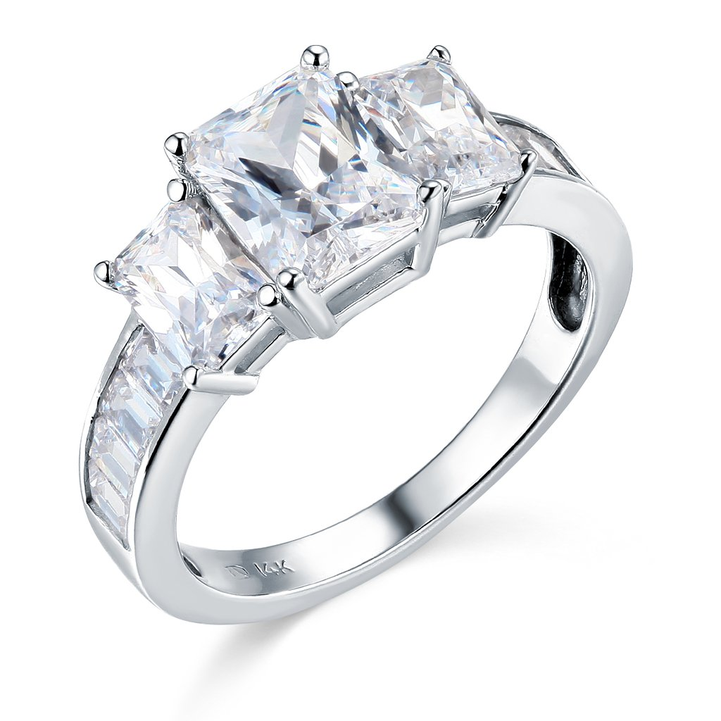 14k White Gold SOLID Wedding Engagement Ring - Size 7.5