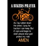 """Metal Tin Sign Vintage Chic Art Decoration a Bikers Prayer & Motorcycle for Home Bar Cafe Farm Store Garage or Club 12"""" X 8"""""""