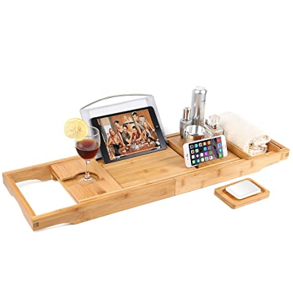 88c6ac45c296f Eilcoo Bathtub Caddy Tray,Bamboo Wood Luxury Bath Rack Shower Organizer  with Extending Sides,Tablet Holder,Cellphone Tray,Wine Glass Slots,Non-Slip  ...