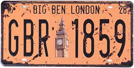 Eureya Retroschild Aus Metall Für Zuhause Café Bar Wanddekoration Auto Fahrzeug Kennzeichen Big Ben London Gbr 1859 6 X12 Küche Haushalt