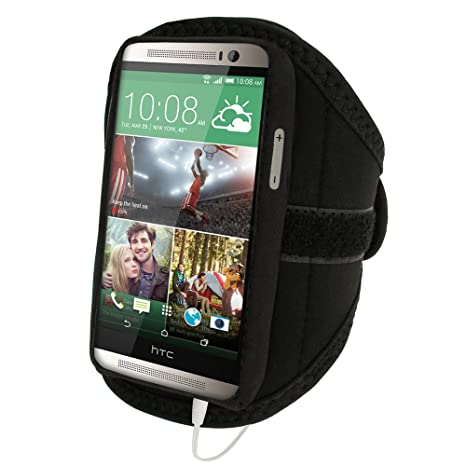 iGadgitz U2852 Funda para tel/éfono m/óvil Brazalete Caso Negro Brazalete Caso, HTC, One M8, Negro Fundas para tel/éfonos m/óviles