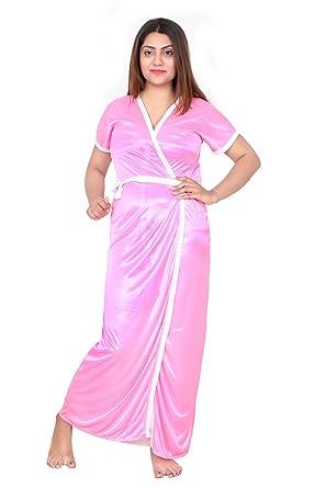 a1bc281892 Be You Fashion Women Satin Light Pink Plain 2 piece Nighty Set at ...