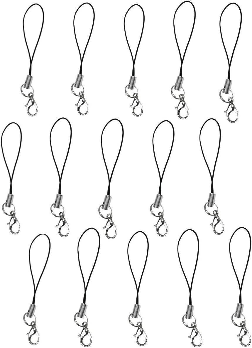 15 Cell Phone Strap Black/Silver Tone Split Ring with Hooks