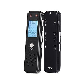 Grabadora de voz con grabadora de audio de 8GB y 384 kbps Dictáfono con reproductor de USB y MP3 de Aurtec, micrófono activado por voz, doble, carcasa ...