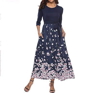 f8b121e04d0 Zshujun Women s Spring and Autumn Seven-Quarter Sleeve Long mop Printed  Dress A2368 (Blue1