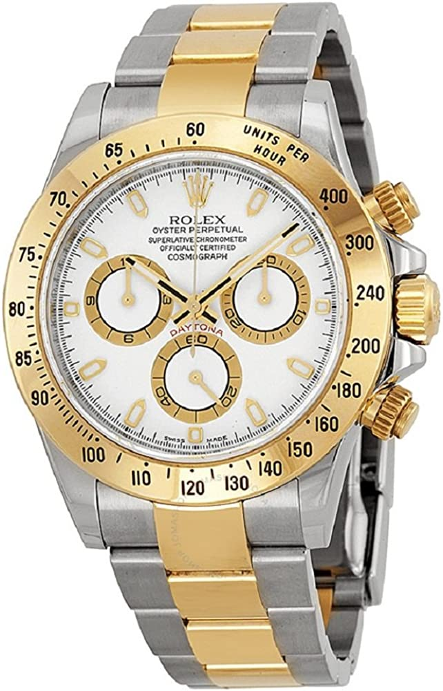 Rolex Oyster Perpetual Cosmograph Daytona 40mm Stainless Steel Case, 18K Yellow Gold Tachymeter Engraved Bezel, White Dial, And Stainless Steel And 18K Yellow Gold Oysterlock Bracelet.