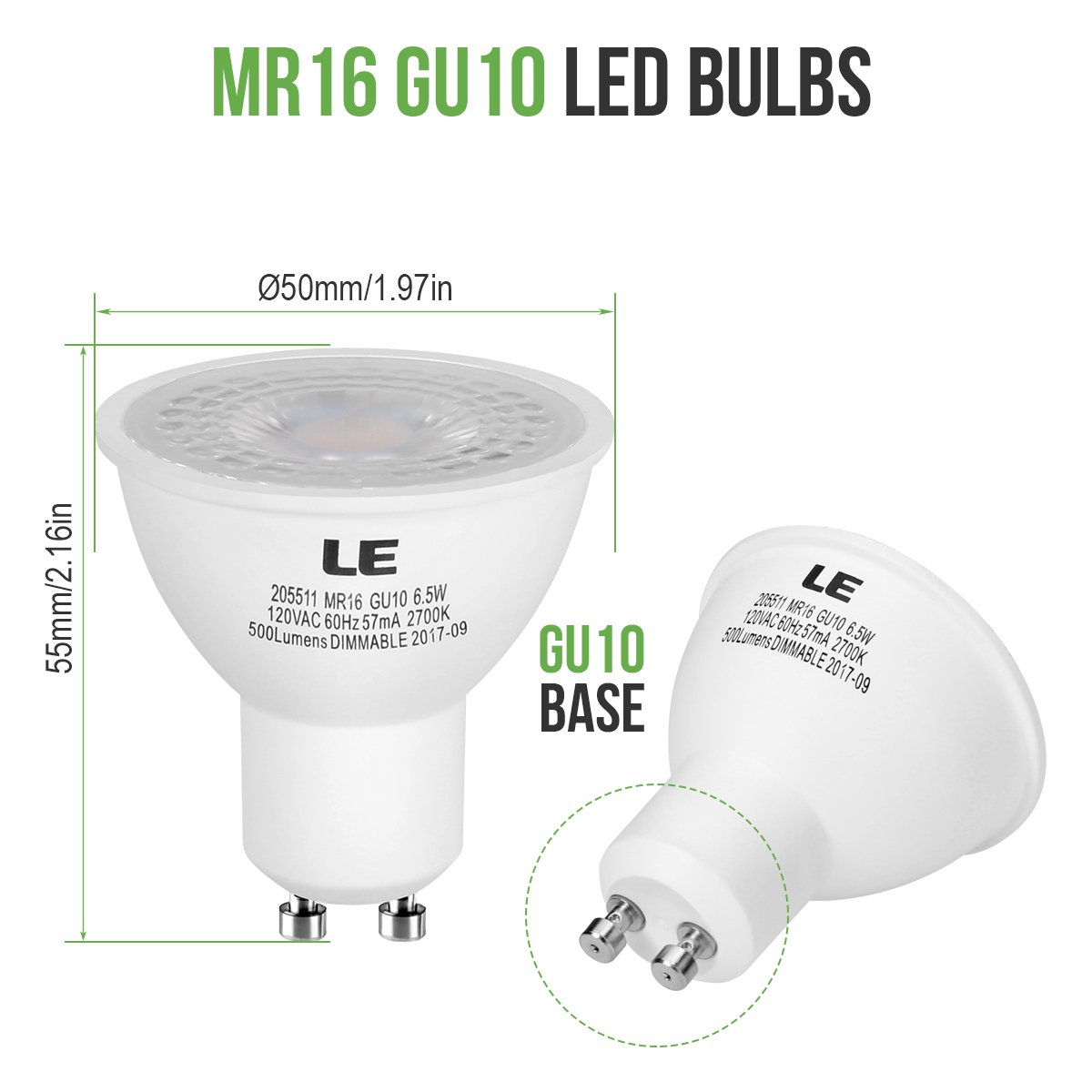 LE MR16 GU10 Dimmable Light Bulbs, 6.5W (50W Halogen Bulbs ...