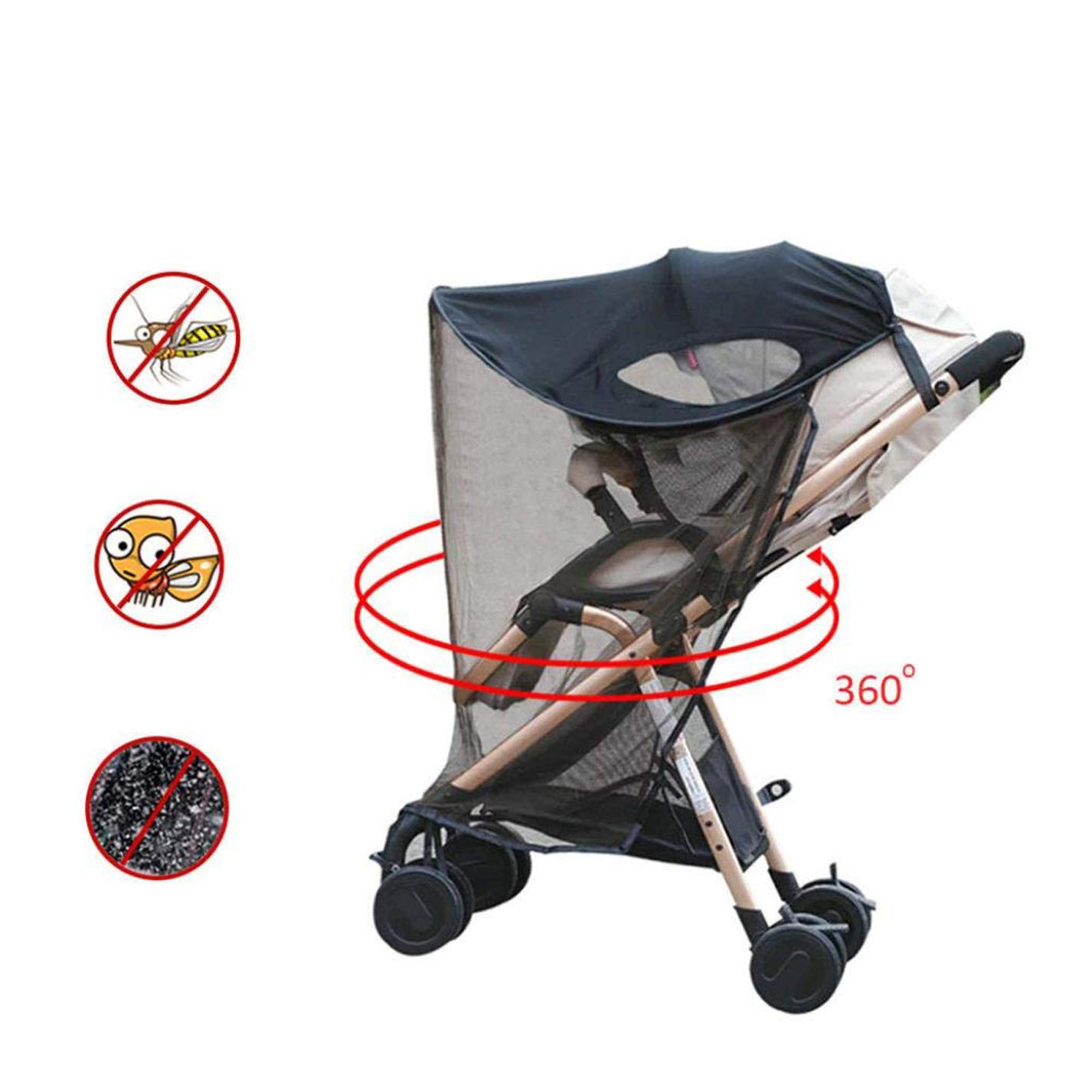 Universal Stroller Sunshade Canopy with Mosquito Net Insect Shield Netting Anti-UV Baby Stroller Sun Visor Infant Carriage Trolley Parasols Canopy Cover for Prams Stroller Car Seat Buggy Pushchair