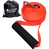 Leashboss Free Range - Long Dog Leash for Large Dogs - 1 Inch Heavy Duty Nylon Training Lead with Padded Handle - High Visibility Orange - Extra Long Dog Leash