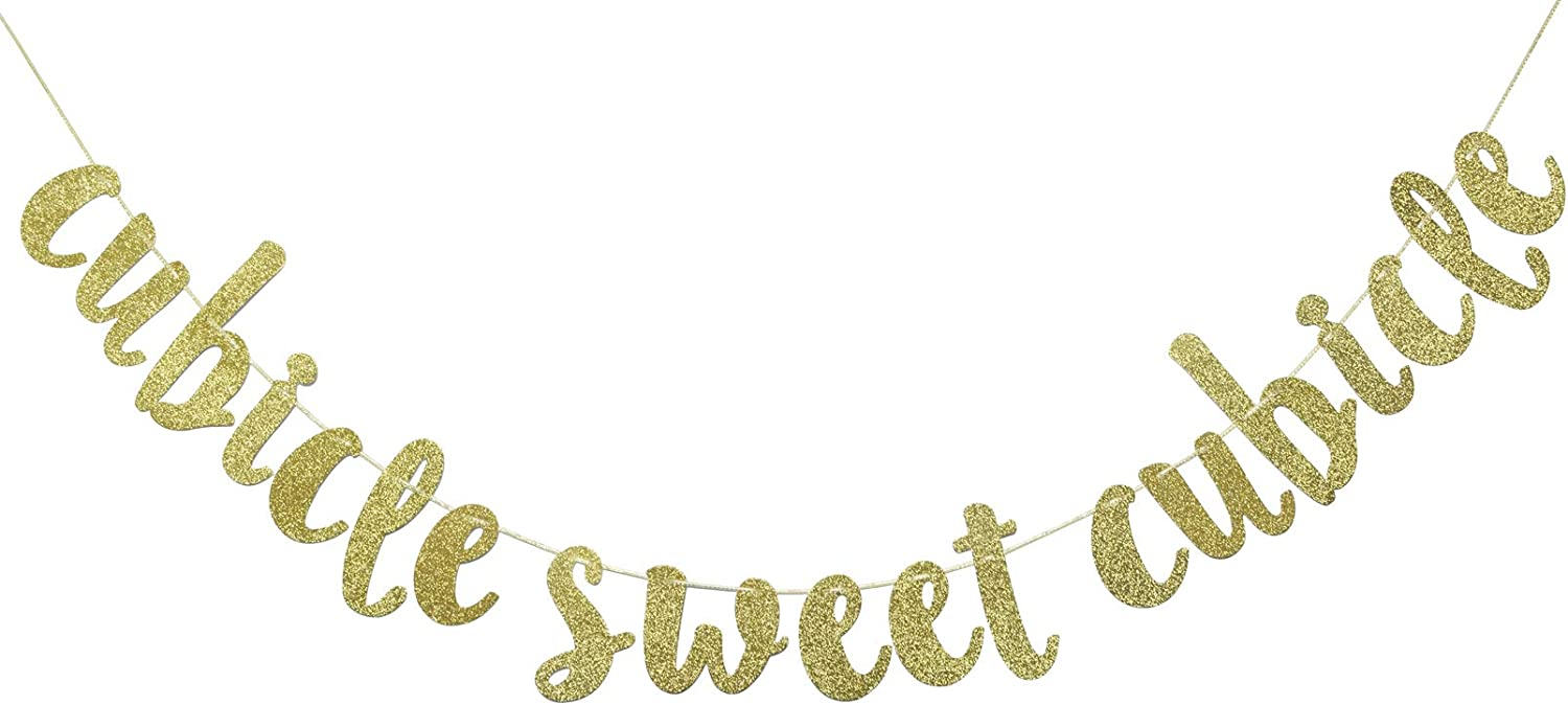 Cubicle Sweet Cubicle Glitter Banner, Home Office Decor, Cubicle Decor, Workplace Decor (Gold)