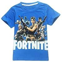 EMILYLE Garçon T-Shirt Fnite Enfant Jeux Vidéo Top d'été Geek Battle Royale Manches Courtes Haut Ado Col Rond