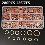 AIKE M5 M6 M8 M10 M12 Seal Flat Ring Variety of Solid Copper Crush Washers Assortment with Box (12Values 280Pcs)