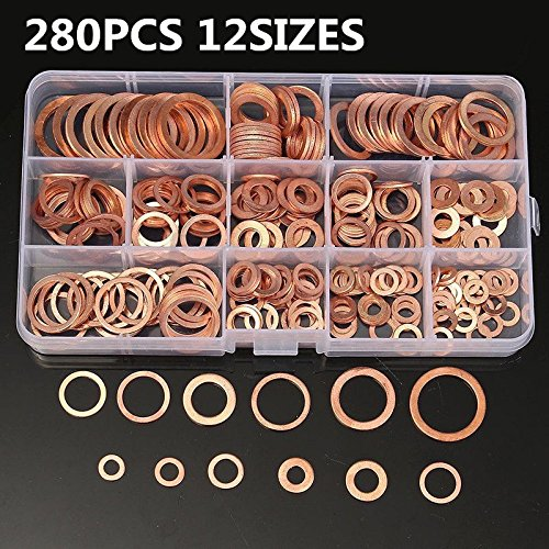 AIKE M5 M6 M8 M10 M12 Seal Flat Ring Variety of Solid Copper Crush Washers Assortment with Box (12Values 280Pcs) from AIKE