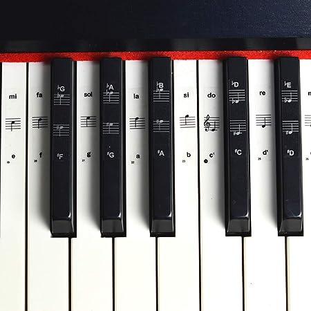 Juego completo de pegatinas extraibles y reutilizables para teclado o piano para teclado de 49/61/76/88 teclas. Incluye pegatinas para teclas blancas ...