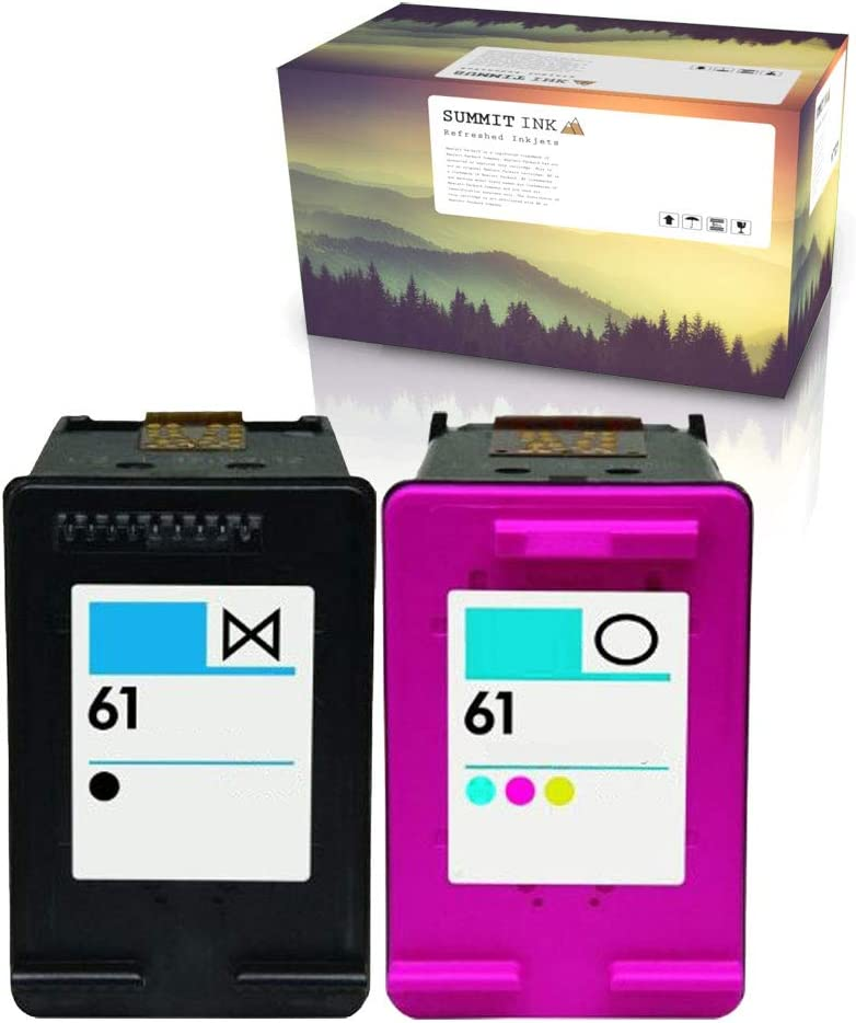 Summit Ink Remanufactured Ink Cartridge Replacement for HP 61 for Deskjet 1000 1010 1050 2050 2510 2545 3000 3050 3510 Officejet 2620 4630 4635 Envy 4500 4505 5530 5535 (1 Black, 1 Color)