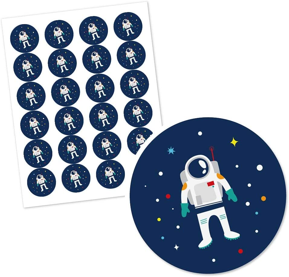 24 Count Blast Off to Outer Space Rocket Ship Baby Shower or Birthday Party Circle Sticker Labels