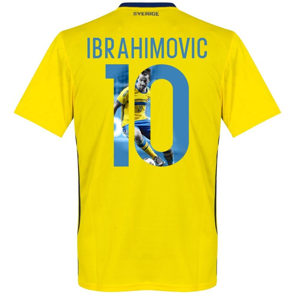 スウェーデンHome Ibrahimovic Jersey 2018 / 2019 (ギャラリースタイル印刷) B079GZ589WX-Small