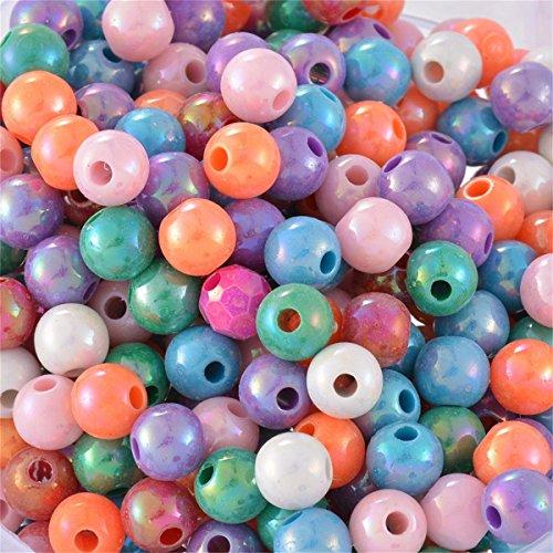 YC Mélange perles de gros trous ronds Fleur acrylique, Acrylique, Color:Assorted, 8 mm