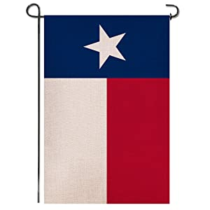 Shmbada Texas State Burlap Garden Flag, Double Sided Premium Fabric, US Patriotic The Lone Star Outdoor Small Decorative Flags for Home Garden Yard Lawn, 12.5 x 18.5 Inch
