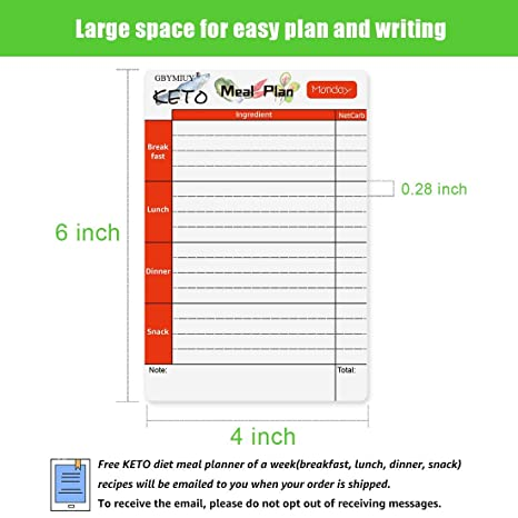 Keto Diet Meal Planner, 7 Pcs Dry Erase Fridge Magnet Chart with Net Carb  Reference List, Easy Menu Board Planning for Weekly Meal Plan, Keto Cheat