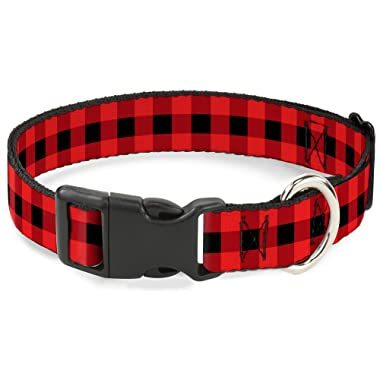 Buckle-Down Plastic Clip Collar - Buffalo Plaid Black/Red - 1  Wide - Fits 15-26  Neck - Large