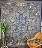 GANESHAM HANDICRAFT - New Launched Blue Gold Passion Hamsa Hand Holy Mandala Tapestry Gypsy Dorm Decor Boho Indian Tapestry, Wall Hanging Tapestry Beach Tapestry Beach Decor Beach Blanket Yoga Mat