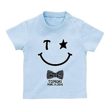 51f8d4b5d0321 名前入り スマイル柄 Tシャツ ベビーサイズ  BT323  80cm ライトブルー 出産
