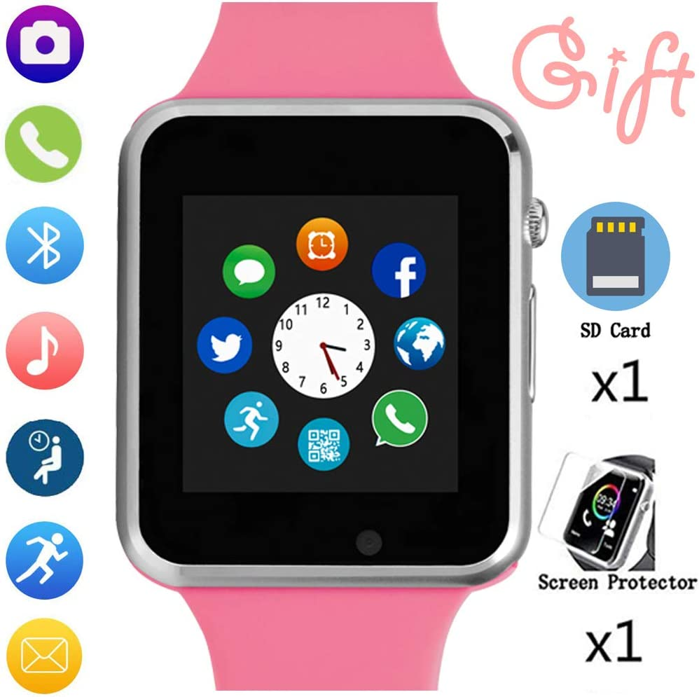 Smart Watch, Smart Watch for Android Phones with SD SIM Card Slot Touch Screen Watch Phone with Camera Pedometer Compatible with Bluetooth for iOS (Partial Functions) Sweatproof for Kids Girls Women