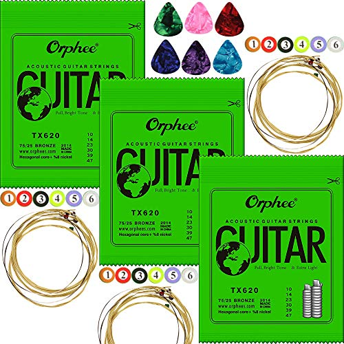 3 Packs Orphee TX620 Colorful Ball-End Phosphor Bronze Acoustic Guitar Strings Extra Light (010-047) ,With 6pcs Celluloid Guitar Picks Medium 0.71mm