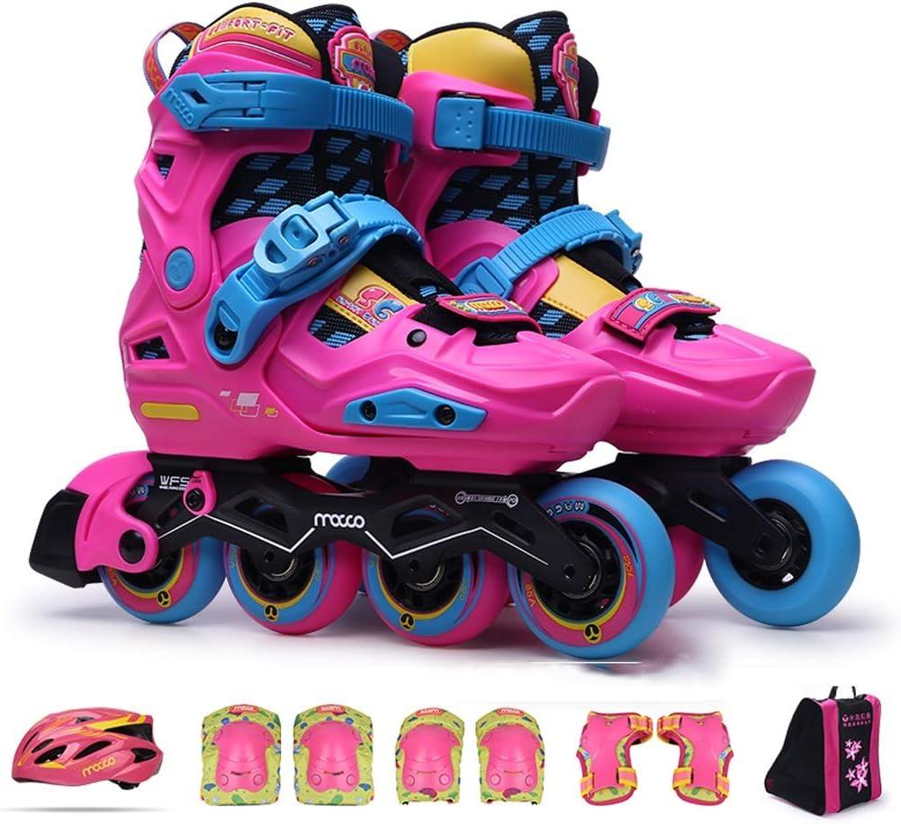 TKW 子供用ローラーブレード、調整可能な屋外インラインスケート、初心者女の子用、ピンクブルー (Color : ピンク, Size : S (EU 29-32)) ピンク S (EU 29-32)