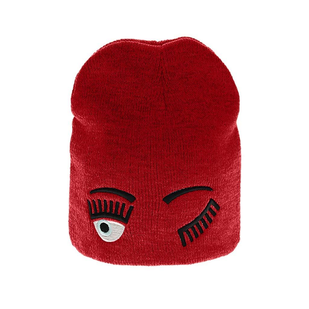 Yezijin Baby Children Winter Cartoon Eyes Face Cap Wool Solid Color Hat Knitting Hats