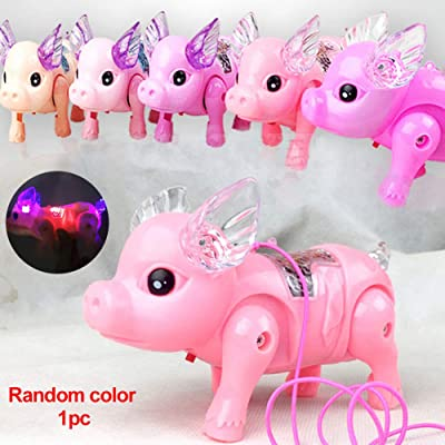 RICH Electric Toy,Novelty & Gag Toys,Electric Walking Singing Musical Light Pig Toy with Leash Interactive Kids Toy for Children Kids Gifts Toys, Random(11x6.5x18cm): Home & Kitchen