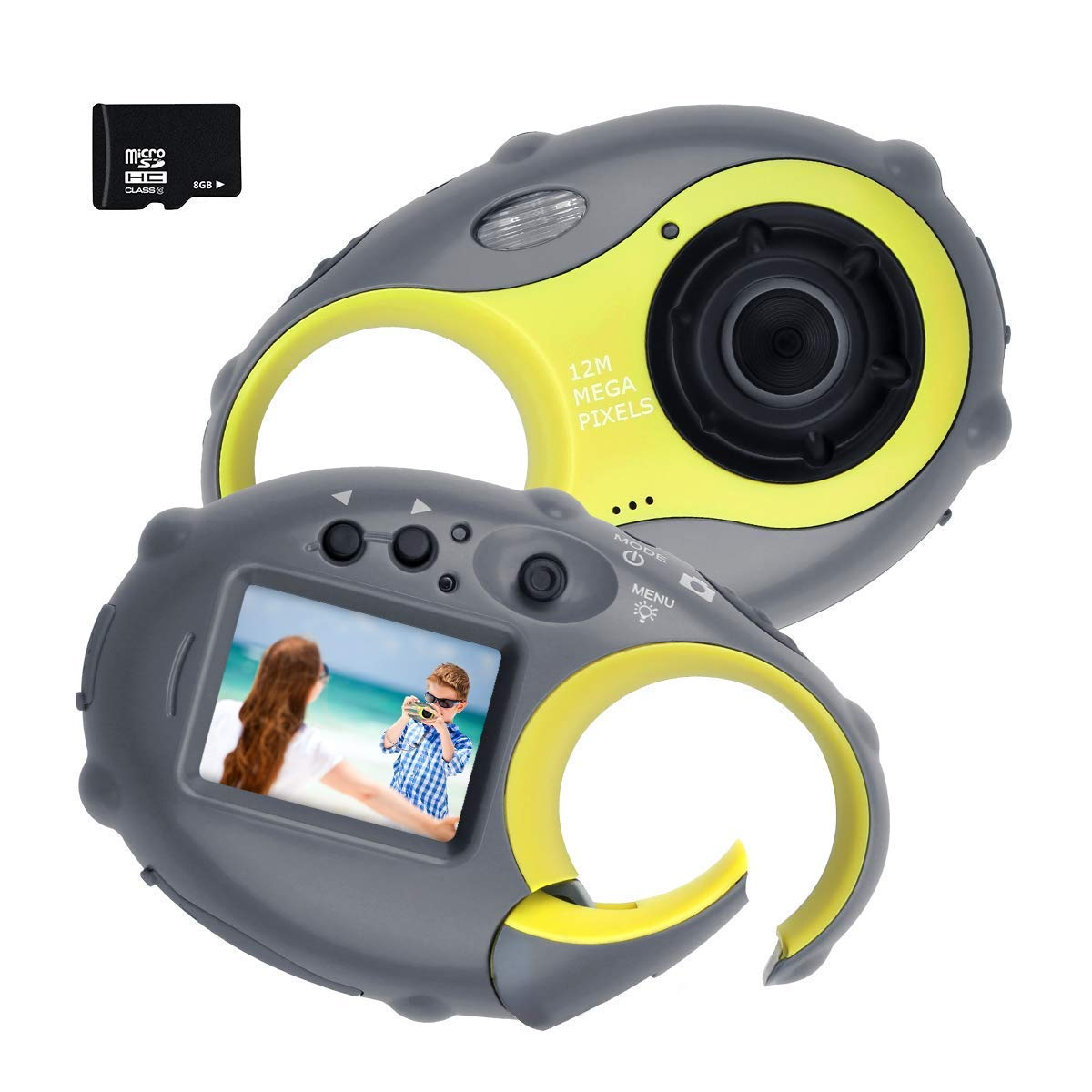 Kids Camera, Digital Camera for Children, 12MP HD Kids Video Camera with 1.5 Inch LCD Screen, 4x Digital Zoom, Flash Light, Rechargeable Battery and 8GB SD Card, Best Holiday Gift for Boys and Girls