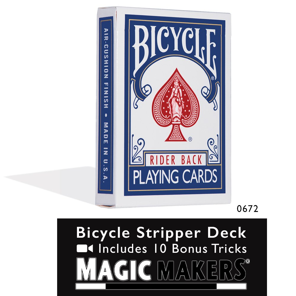 Magic Makers Bicycle Stripper Deck with 10 Bonus Tricks (Blue) - Tapered Magic Trick Deck by Magic Makers