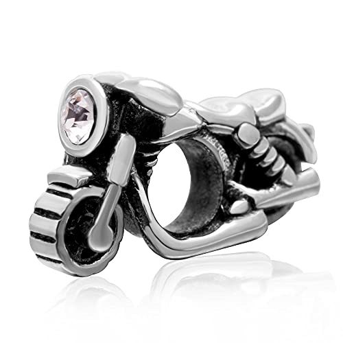 6d1ef6710 Image Unavailable. Image not available for. Color: Motorcycle Charm -  Authentic 925 Sterling Silver CZ Stone Beads - Fit ...