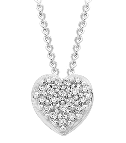Carissima Gold Women's 9 ct White Gold Diamond Pave Set Round Pendant on Curb Chain Necklace of Length 46 cm SgjXIyUE