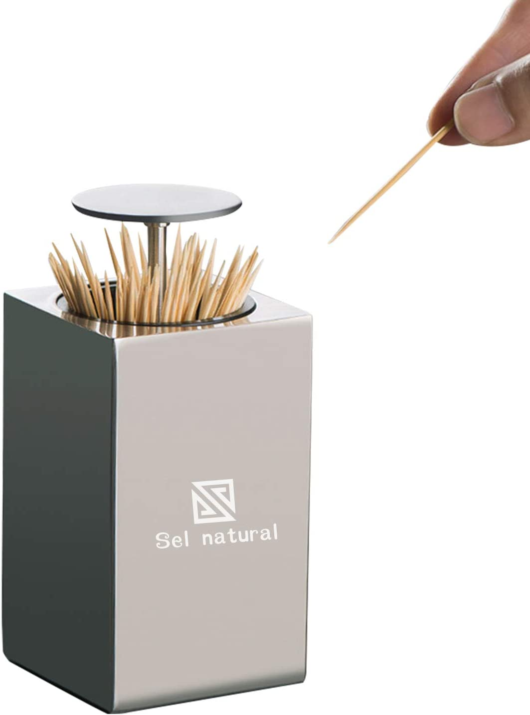 Automatic Stainless Steel Toothpick Holder - Metal Cube Toothpick Dispenser Box Click Open, Modern Storage Bottle for Bamboo Toothpick