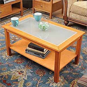 Honey Maple Coffee Table with Glass Insert Top and Lower Shelf