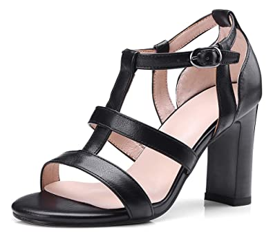 2d03be60219 INSTAR Women s Retro Wide Width Strappy Stacked Heeled Open Toe Gladiator  Sandals Black 4 ...