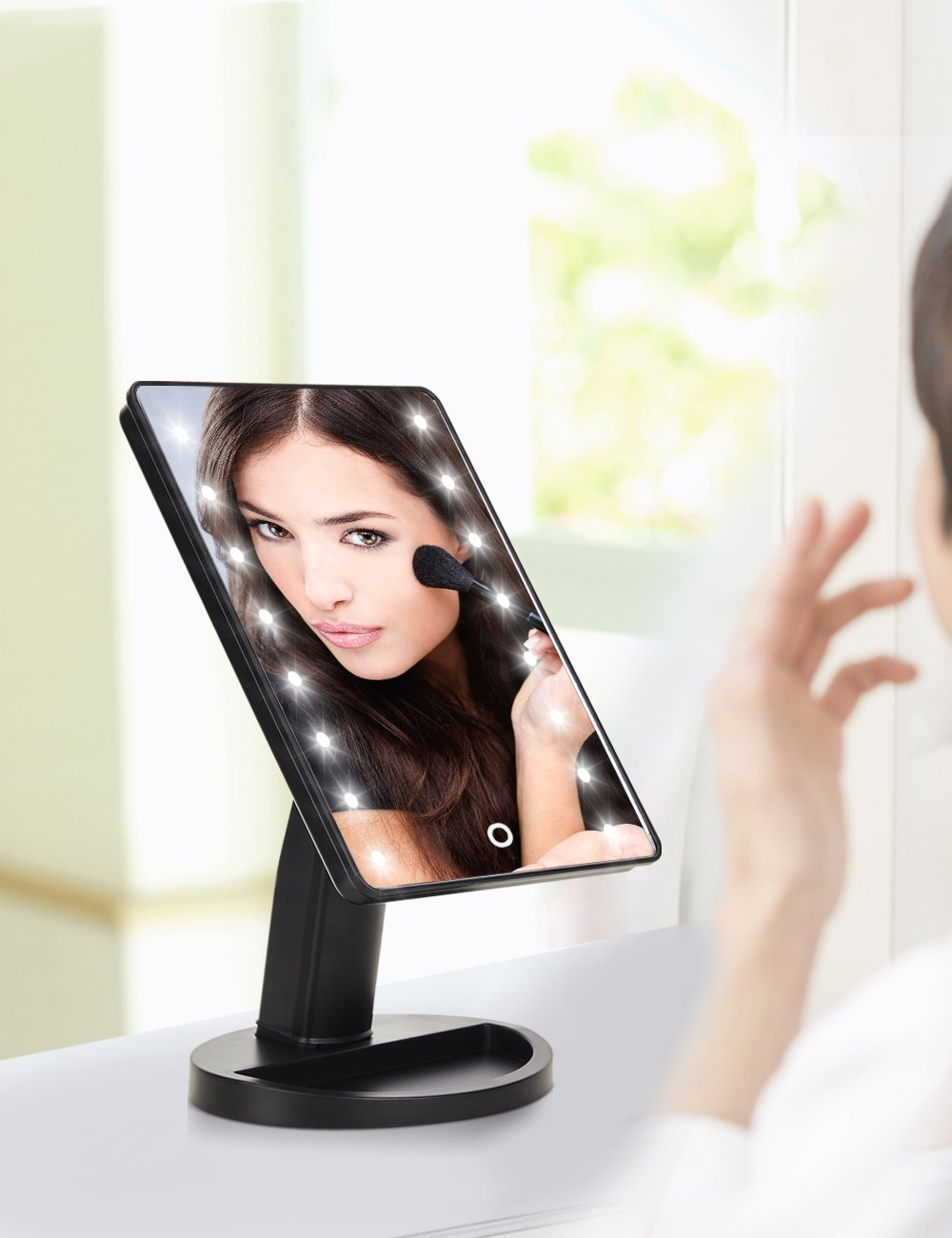 Lighted-Vanity-Makeup-Mirror-with-16-Led-Lights-180-Degree-Free-Rotation-Touch-Screen-Adjusted-Brightness-Battery-USB-Dual-Supply-Bathroom-Beauty-Mirror