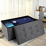 Storage Ottoman,Folding Storage Bench, Linen-like Fabric Foldable Stool Thickening Sponge and 6 Buttons Design for Livingroom 29 7/8' Deep Gray