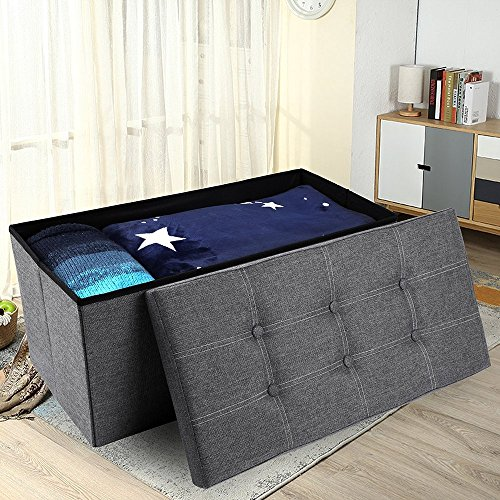 epeanhome Storage Ottoman,Folding Storage Bench, Linen-like Fabric Foldable Stool Thickening Sponge and 6 Buttons Design for Livingroom 29 7/8